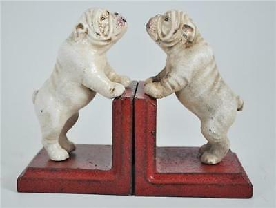 Cast Iron Bookends - Pair White Vintage Bulldog