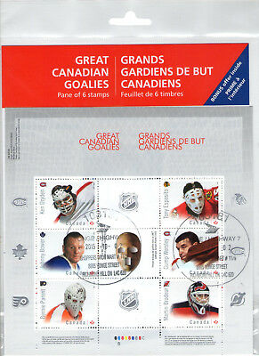 2015 Great Canadian Goalies NHL Hockey First Day Cancel Stamp Panel Canada Post