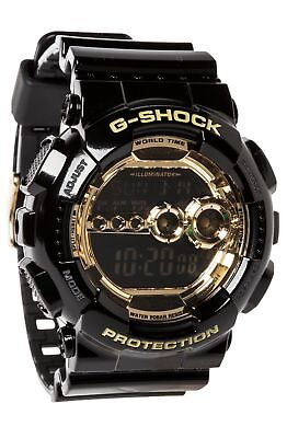 Casio Men's Black Resin G-Shock Digital Strap Gold Tone GD-100GB-1D