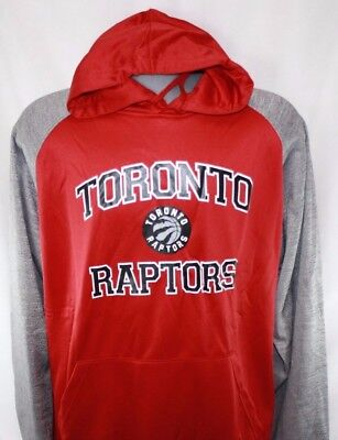 NEW Mens NBA Toronto Raptors Basketball Red Poly Fleece Raglan Pullover Hoodie