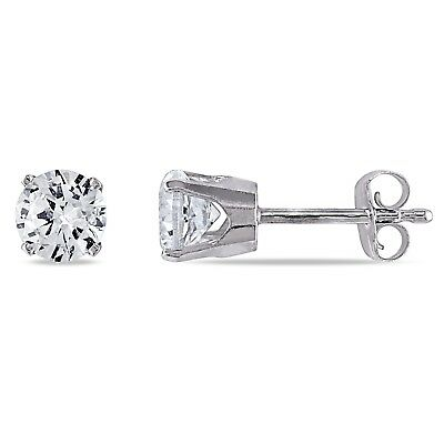 Amour 10k Gold Created White Sapphire Solitaire Stud Earrings (1 1/5ct TGW)