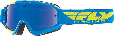 Fly Racing Zone Pro Goggles Adult Dirt Bike MX Blue,Hi-Vis Chrome, Smoke Lens