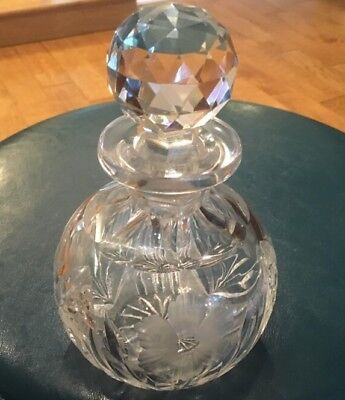 Rare Large Brilliant Round Cut Crystal Perfume Bottle & Triangular Faceted Top