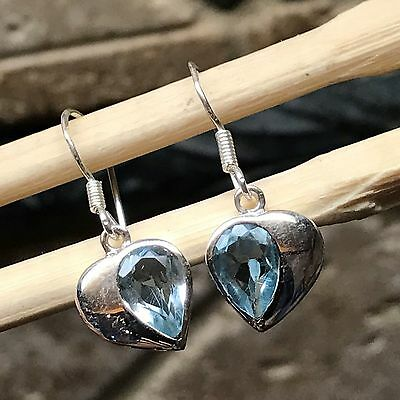 Natural 2ct Aquamarine 925 Solid Sterling Silver Heart Dangle Earrings 26mm