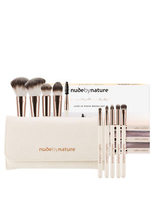 NEW Nude By Nature Sunrise Luxe 10 Piece Brush Set