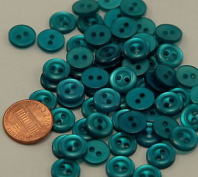 "Lot of 24 Small Pearlized Teal Blue Plastic Buttons 7/16"" 11mm  # 6522"