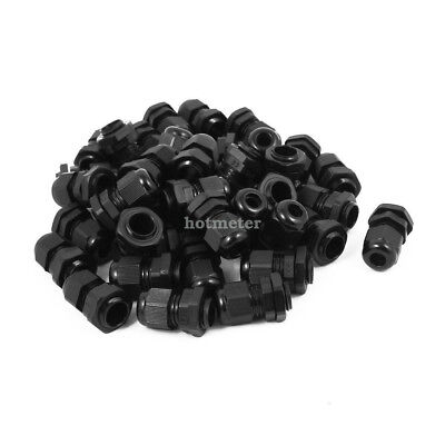 40 x PG9 Waterproof IP68 Safety Nylon Cable Gland Connector Joints Black 34x23mm
