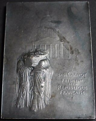 Rare Antique French Art Nouveau Medal Plaque By Oscar Roty In Silvered Bronze