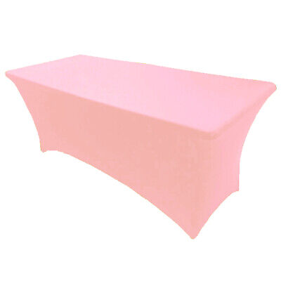 6' ft. Spandex Fitted Stretch Tablecloth Table Cover Wedding Banquet Pink