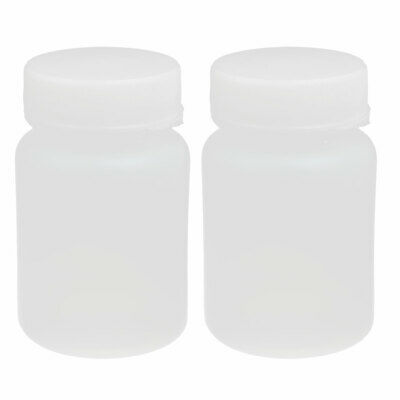 60ml HDPE Plastic Screw Cap Wide Mouth Cylinder Reagent Storage Bottle 2pcs