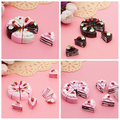 10Pcs Mini Fake Food Model Dollhouse Toy Resin Triangle Cake Handcrafts Play Toy