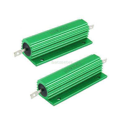 2 Pcs 100W ± 5% 25 Ohm Green Aluminum Housed Wirewound Resistors 81 x21mm x 15mm
