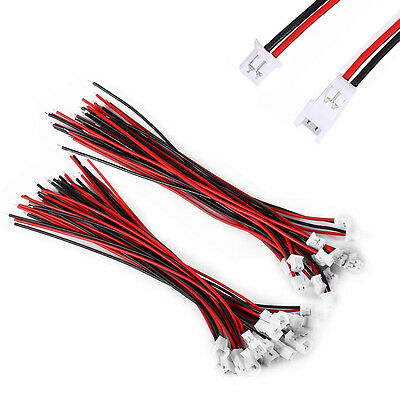 100Pairs Micro JST 1.25 2-Pin Male Female Connector Plug 10cm 100mm Wires Cables