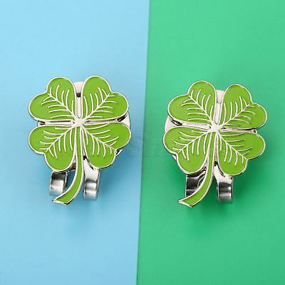 1X Four Leaf For Luck Clover Hat Clip With Magnetic Golf Ball Marker Rub Outdoor