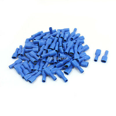 100 Pcs Blue Rewirable Insulated Crimp Terminal Spade Connector 16 - 14 AWG Wire