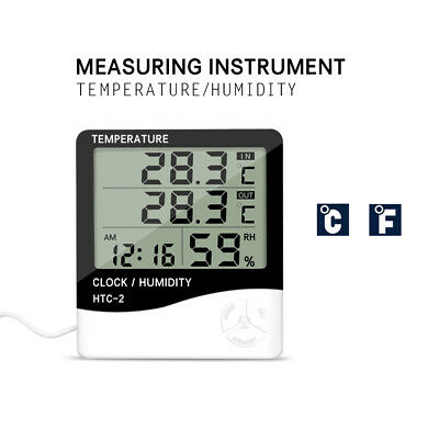3in1 Electric LCD Digital Indoor/Outdoor Thermometer Hygrometer Alarm Clock