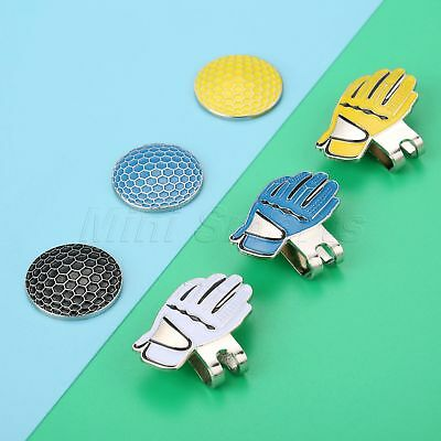 1X Glove Alloy Hat Clip With Magnetic Golf Ball Marker Blue/White/Yellow Outdoor