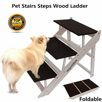 Folding Dog Stairs Puppy Cat Pet Steps Portable Tall High Bed Car Ladder Ramp SE