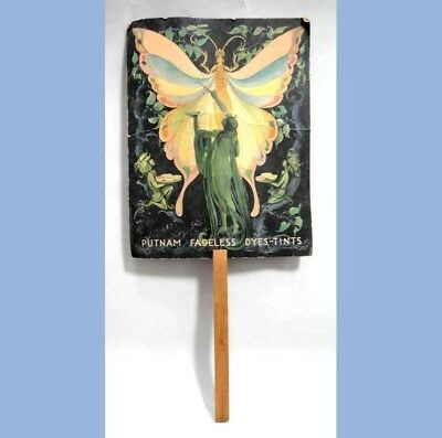 antique PUTNAM FADELESS DYES-TINTS HAND FAN~LADY LIBERTY & BUTTERFLY reading pa