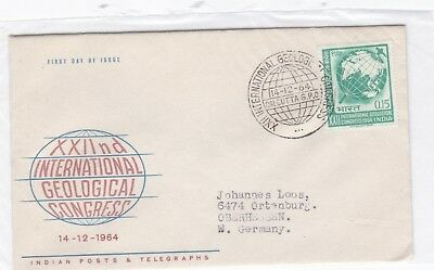 Indien 380 FDC 1964 GEOLOGIE KONGRESS  GEOLOGICAL CONGRESS BRIEF INDIA COVER