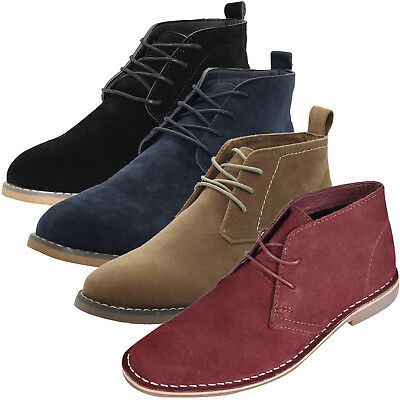 New Mens Outdoor Suede Leather Style Desert Boots Lace Block Heel High Top Shoes