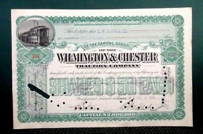 1898 antique WILMINGTON and CHESTER TRACTION CO. STOCK CERT e.w.clark TROLLEY