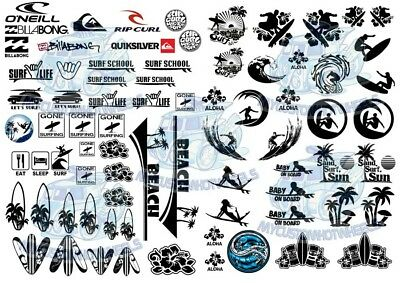 HANG TEN SURF DECALS | Beach & Surfing Waterslide Decals in all popular scales