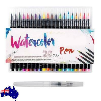 20-Color Watercolor Painting Pen Brushes Artist Sketch Drawing Marker Pens Set