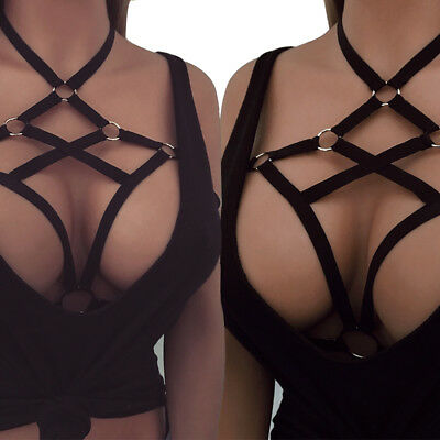 Women Body Harness Elastic Bandage Cage Ladies Strappy Hollow Out Bra Belt Black