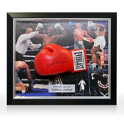 Anthony Joshua Signed Red Everlast Boxing Glove Autographed Memorabilia Framed