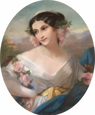 The Young Flower Girl Antique Pastel Portrait 19th Century French School