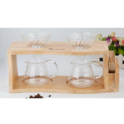 Wood Coffee &Tea Maker Dripper Stand Drip Station with Double Hole Drip