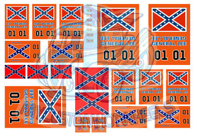 Dukes of Hazzard - General Lee Waterslide Decals in all popular scales