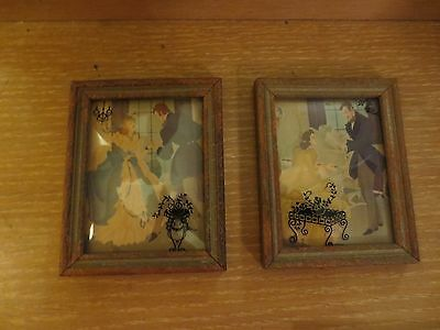 Vintage Pair Of Victorian Courting  Scene Silhouettes Framed Convex Glass 5X4