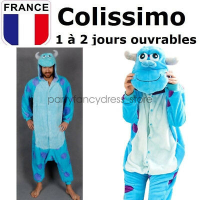 Homme Femme Kigurumi Pyjama Adulte Sully Monstre Onesie Halloween Costume Tenue
