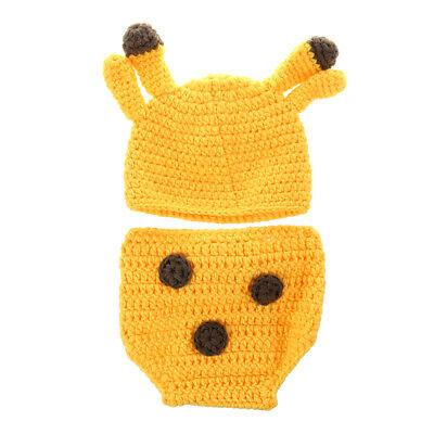 5X(Newborn baby handmade crochet point clothing support photo costume + hat pan)