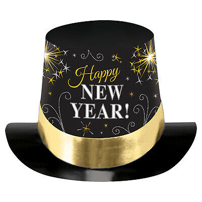 Happy New Year Black, Silver & Gold Printed Foil Top Hats x 6