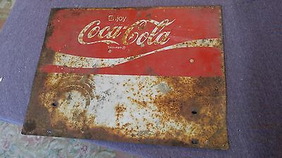 Vintage Enjoy COCA COLA Sign Double Sided Metal Advertising Store Sign