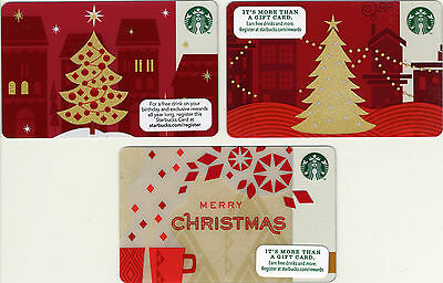 Starbucks Christmas Theme NEW! Set of 3 Gift Cards No $ Value