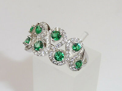 Ladies Art Deco Style 925 Sterling Fine Silver Emerald White Sapphire Dress Ring