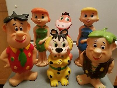 6 Large Vintage Toy Flintstones Fred Wilma Barney Betty Dino Baby Puss Figures