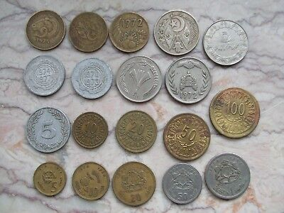 Lot of 19 different coins of Tunisia Algeria and Morocco