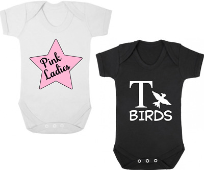 PINK LADIES / T BIRDS TWIN Bodysuits/Grows/Vests Newborn Gift Baby Shower GREASE