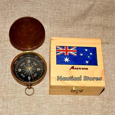 Brass Navigation Marine Camping Compass Vintage Nautical Compass W/Box