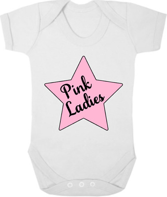 PINK LADIES New Bodysuit/Grow/Vest/Sleep Suit, Newborn Gift, Baby Shower GREASE