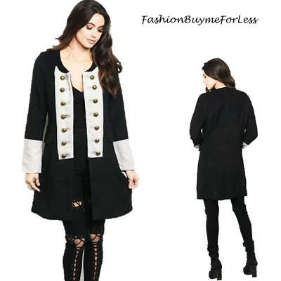 Victorian Gothic Steampunk Black Revolution Jacket Peacoat Trench coat S M L