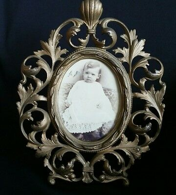 Antique Victorian Baroque Ornate Gold Tone Easel Table Top Frame w/Real Photo