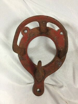 Vintage Red Cast Iron Horse Bridle Hook Bridle Rack Made In England Solid