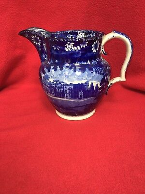 Historical Staffordshire Dark Blue Large Pitcher American View By Clews Ca. 1825