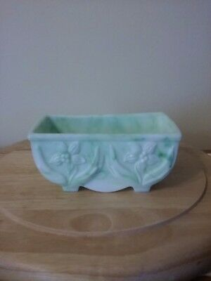 Vintage light green and white milk glass candy bowl. Made in USA #657